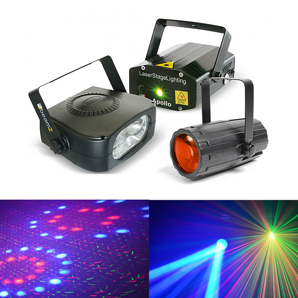 Light Package 4 Moon Flower + Laser Red and Green + Stroboscope 150W
