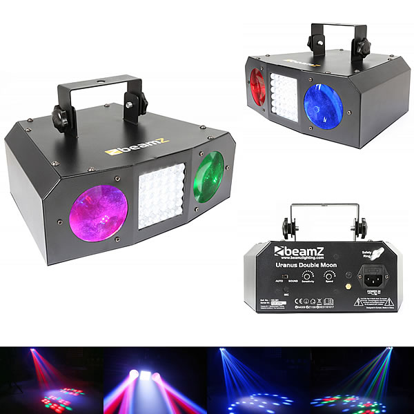 Uranus LED Double Moon 2x3W + Strobe