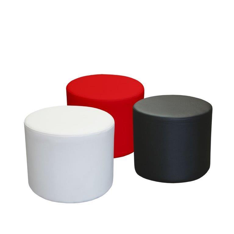 ottomans round various colours